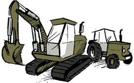 Illustration image showing commercial vehicles and plant machinery.